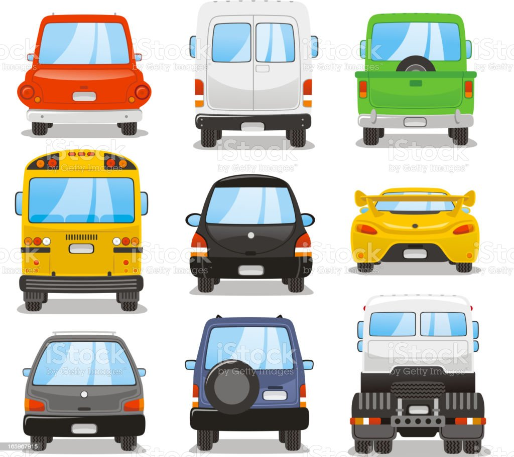 Car rear set vector art illustration