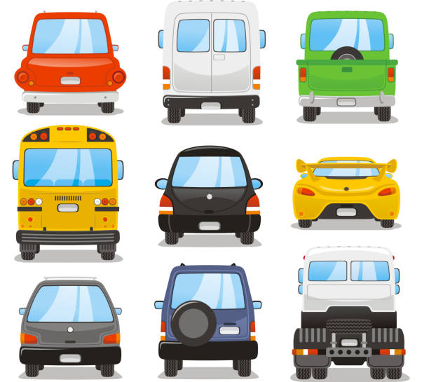 Car rear set Car rear vector illustration set. back stock illustrations