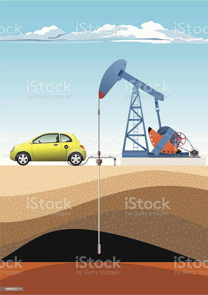 Car Refuels From Pump Jack royalty-free stock vector art