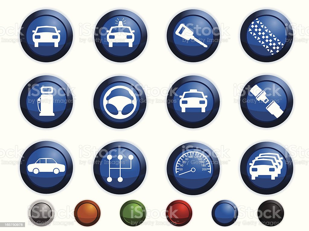 Car related icons vector art illustration