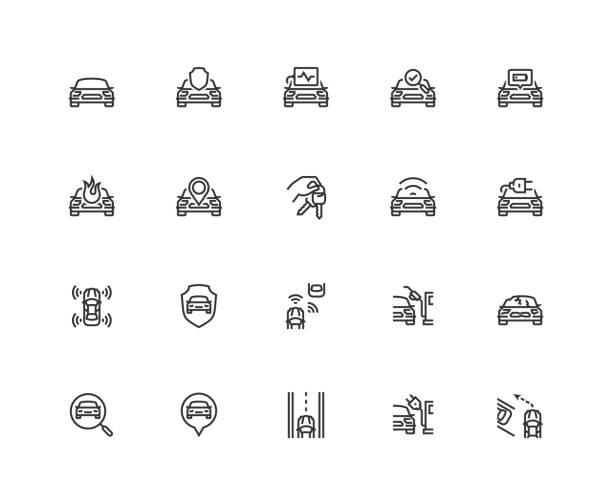 ilustraciones, imágenes clip art, dibujos animados e iconos de stock de icono de vectores relacionados con coche situado en estilo de línea fina. pixel perfecto, rejilla de 48 x 48 - vehículos sin conductor