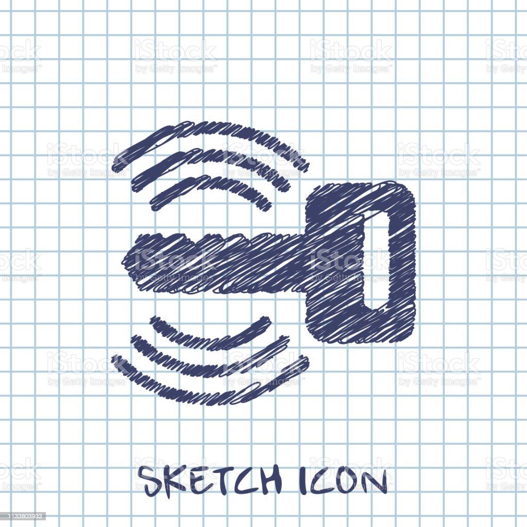 Car Remote Key Symbol Vector Hmi Dashboard Sketch Icon Stock