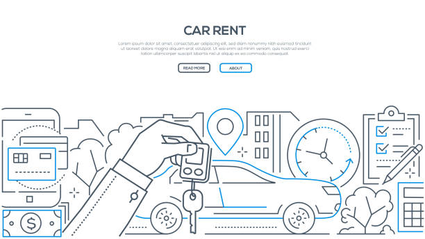 Car rent - modern line design style banner Car rent - modern line design style banner on white background with copy space for text. A composition with a vehicle, hand holding key, timer, geo location, check list, ways of payment lease agreement stock illustrations