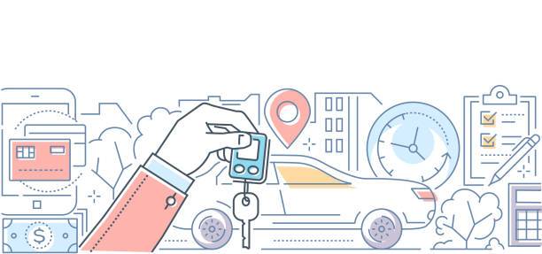Car rent - modern line design style vector illustration Car rent - modern line design style vector illustration on white background. High quality composition with a vehicle, hand holding key, timer, geo location, check list, ways of payment lease agreement stock illustrations