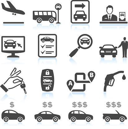 Car Rental black & white royalty free vector icon set