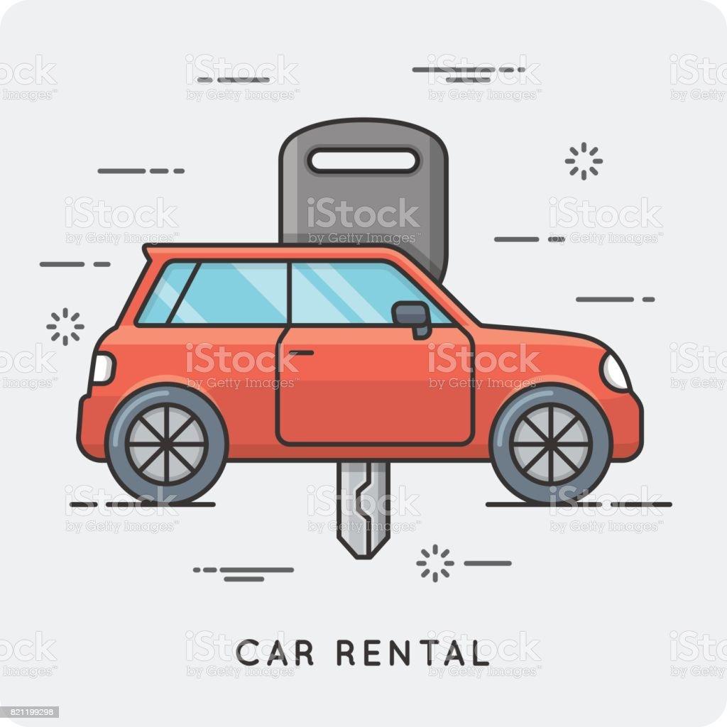 Car rental. Thin line concept.