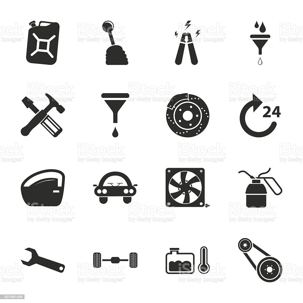 car repair 16 icons universal set for web and mobile vector art illustration