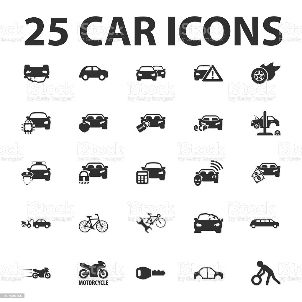 Car, repair 25 black simple icons set for web vector art illustration