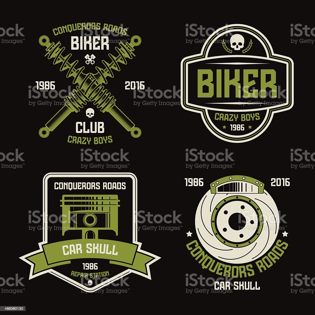 Car repair and biker club emblems vector art illustration