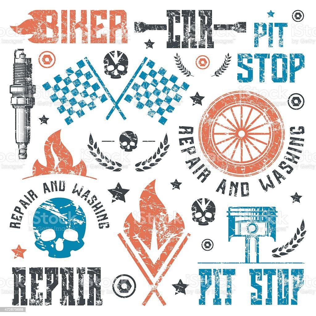 Car repair and racing badges vector art illustration