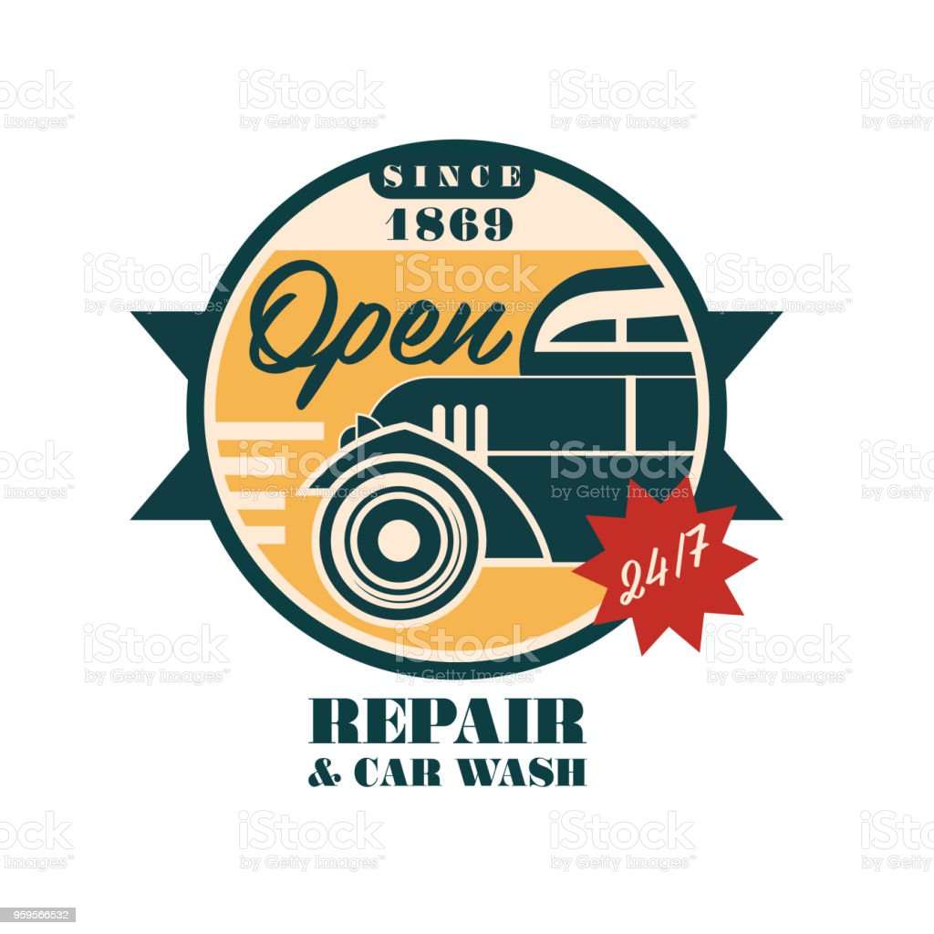 service and repair classic car logo design retro auto service round rh istockphoto com Auto Body Shop Layout Examples Auto Mechanic Clip Art