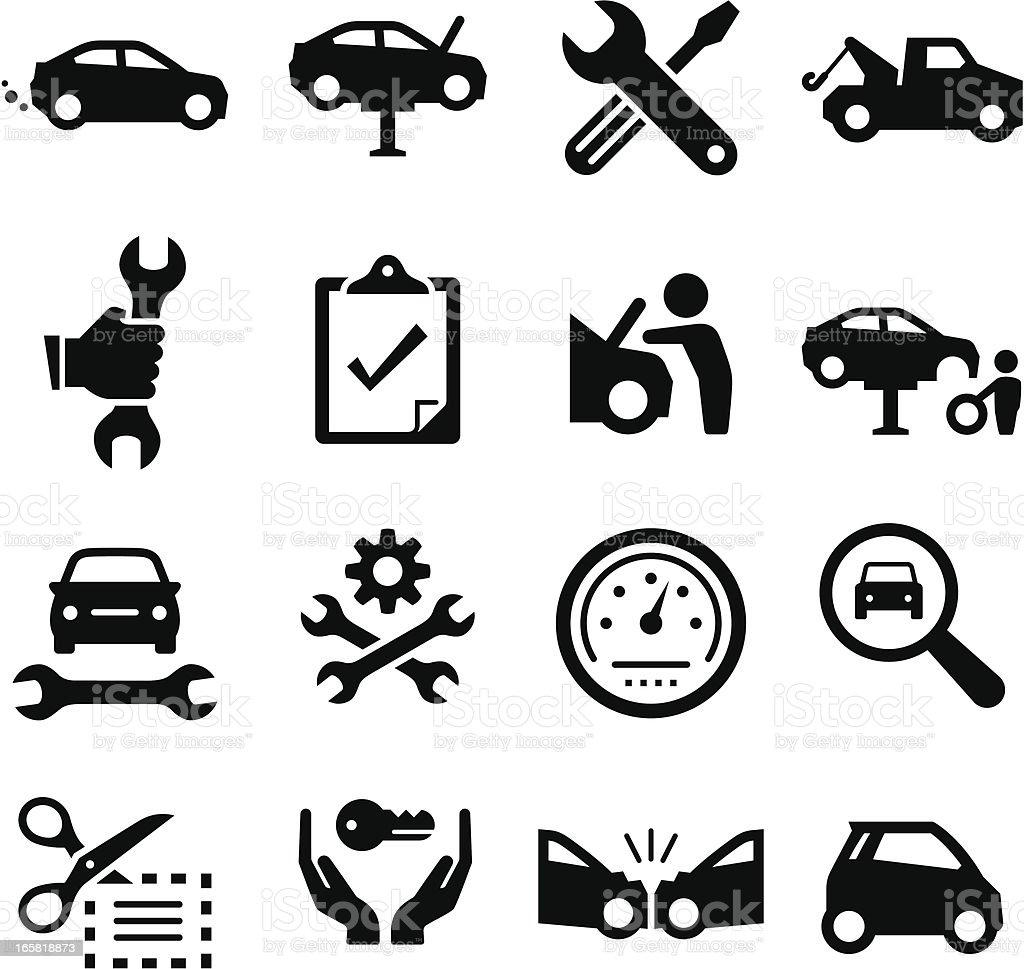 自動車修理-ブラックシリーズ ベクターアートイラスト