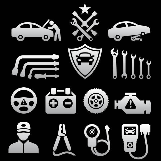 bildbanksillustrationer, clip art samt tecknat material och ikoner med car repair black & white royalty free vector icon set - wheel black background