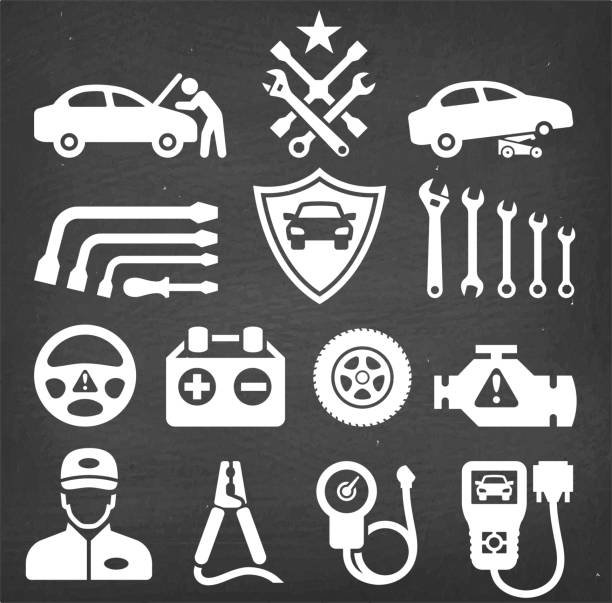 bildbanksillustrationer, clip art samt tecknat material och ikoner med bil reparation krita styrelsen royalty gratis vector ikonuppsättning - wheel black background