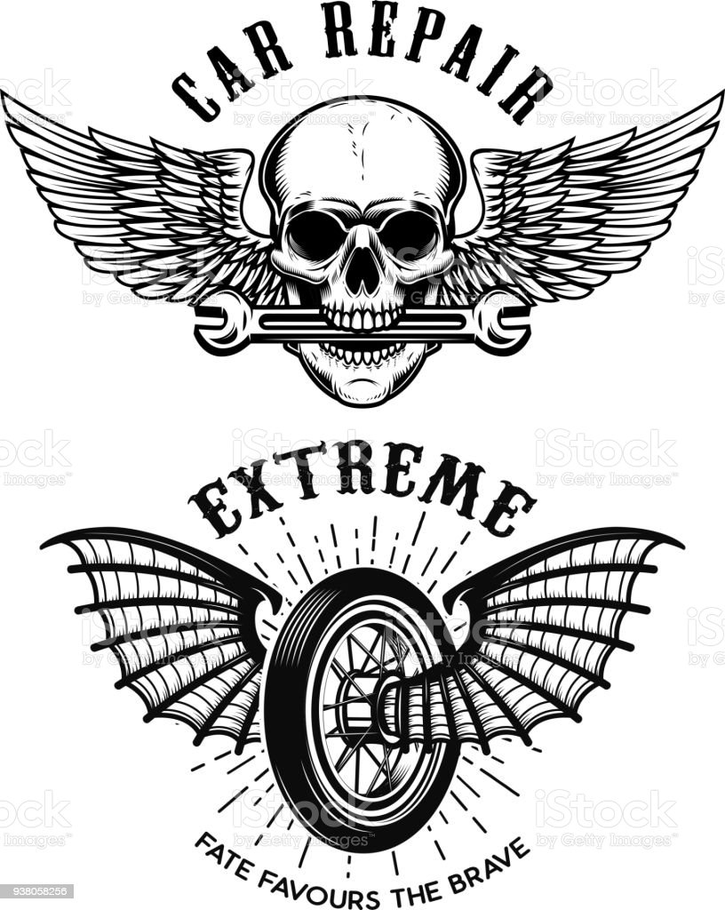 Car repair emblems wheel with wings skull with wings and wrench car repair emblems wheel with wings skull with wings and wrench design element biocorpaavc Choice Image