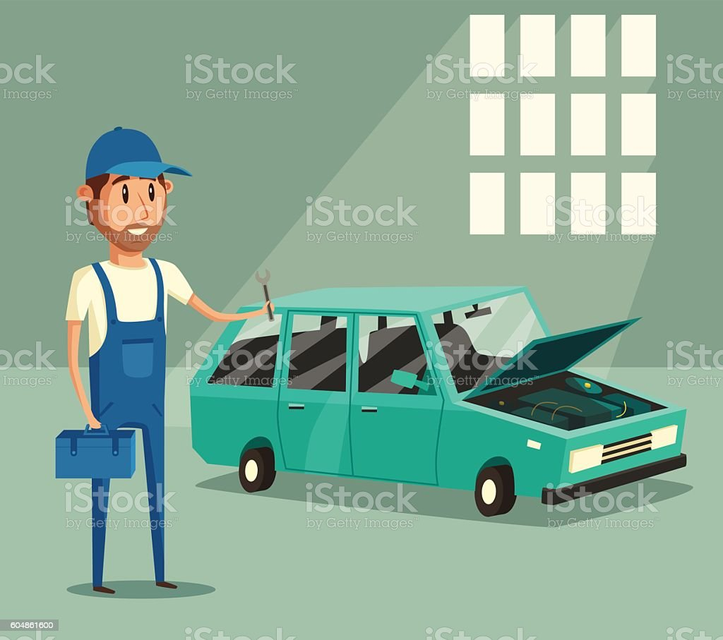 Car Repair Funny Mechanic Vector Cartoon Illustration Stock Vector