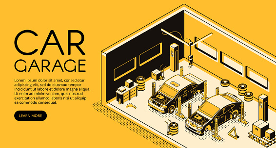 Car repair garage service vector isometric halftone