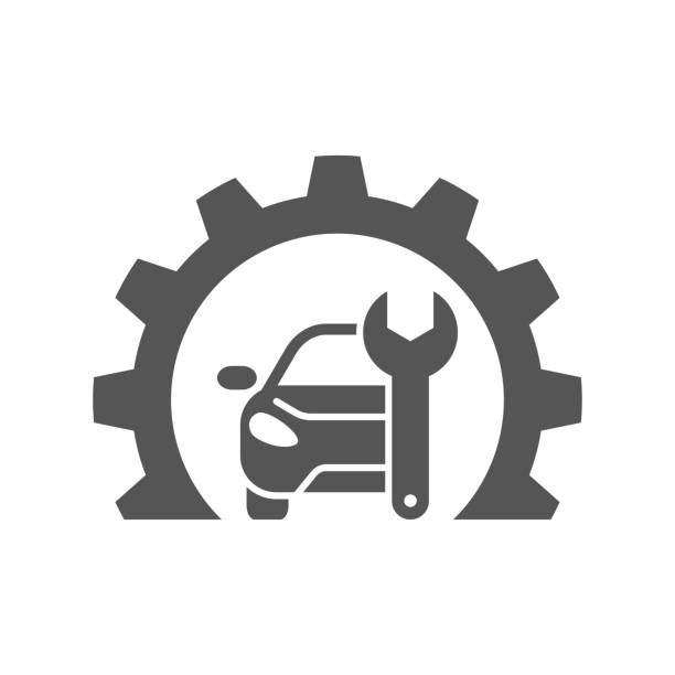 Car repair gear outline icon in flat style. Elements of car repair illustration icon. Signs and symbols can be used. For web, logo, mobile app, UI vector art illustration