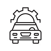 Car repair icon vector sign and symbol isolated on white background, Car repair logo concept