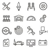 car repair icons set. Car parts and services thin line