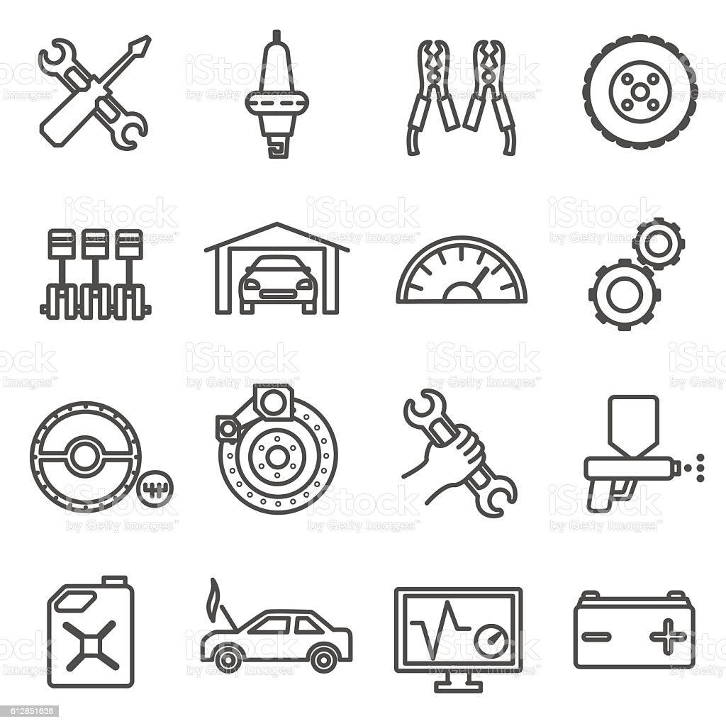 car repair icons set. Car parts and services thin line vector art illustration