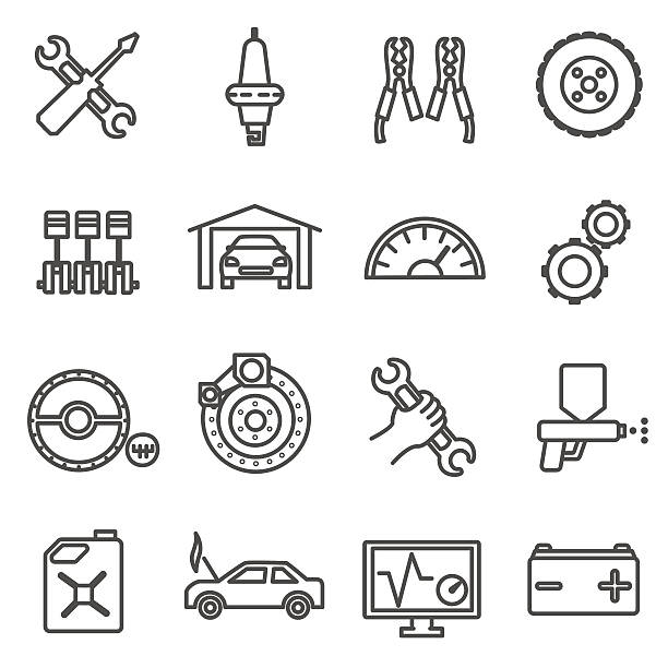 car repair icons set. Car parts and services thin line – Vektorgrafik