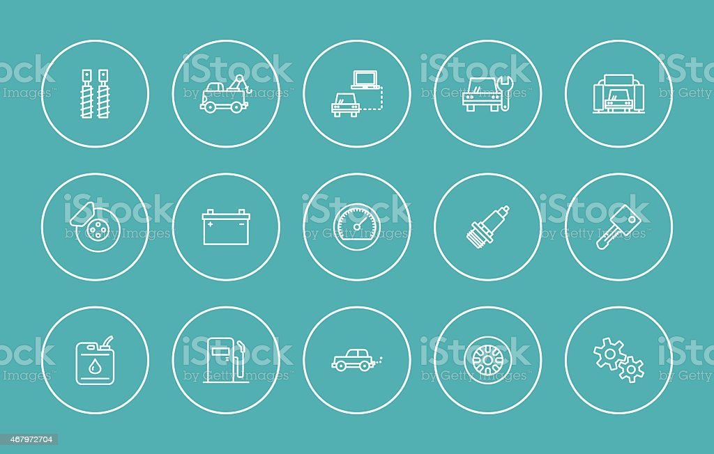 car repair icons vector art illustration