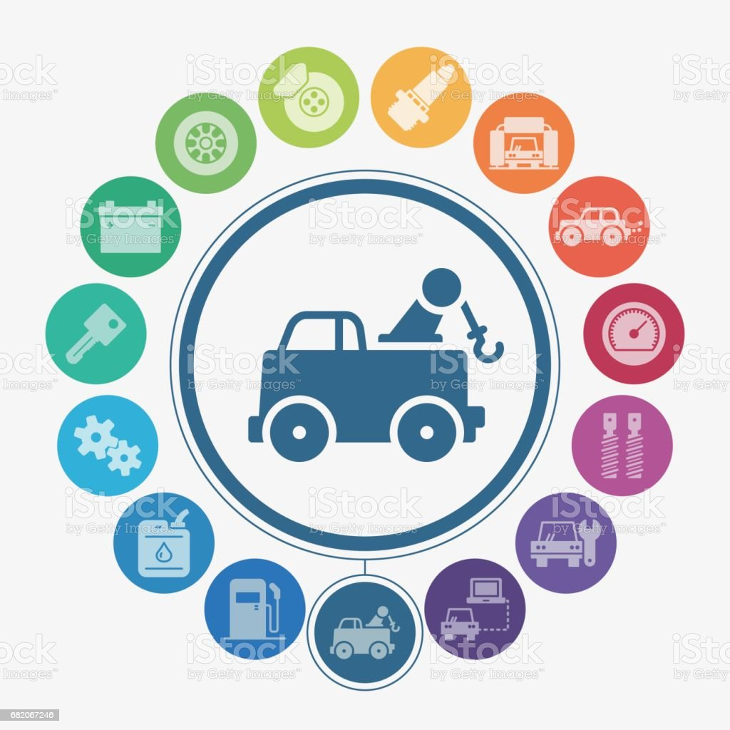 Car repair icons vector art illustration
