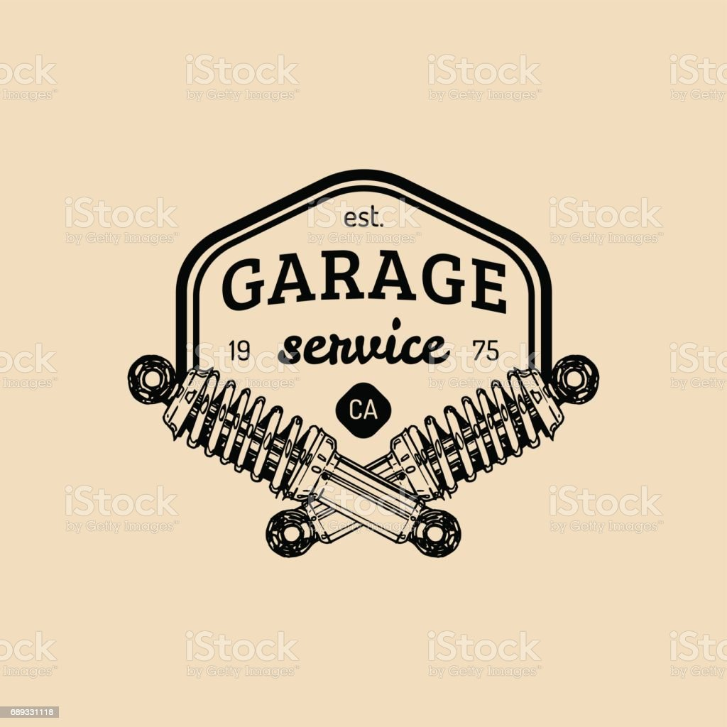 Car repair logo with shock absorber illustration. Vector vintage hand drawn garage, auto service advertising poster etc. vector art illustration