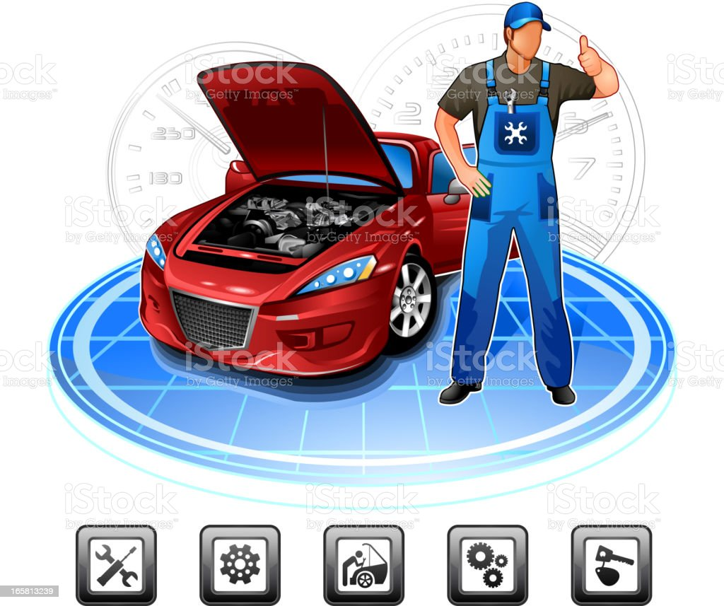 Car repair mechanic vector art illustration
