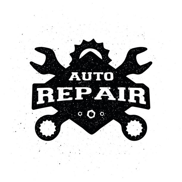 car repair, monochrome emblem. - mechanic stock illustrations, clip art, cartoons, & icons