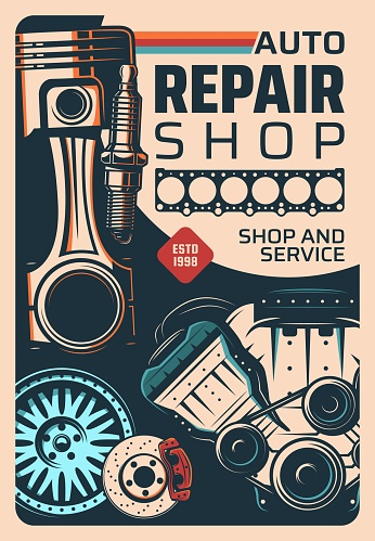 Car repair service and spare parts shop poster