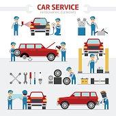 Car repair service falt vector illustration. Infographic elements