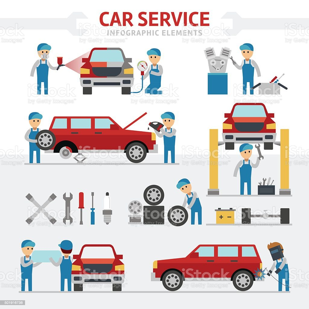 Car repair service falt vector illustration vector art illustration