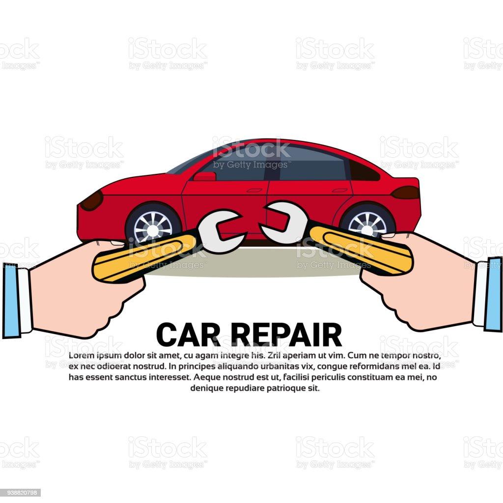 Auto Reparatur Service Symbol Hand Mit Schraubenschlüssel über ...