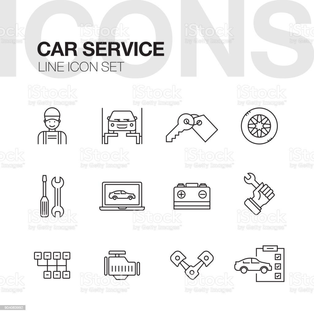 Voiture réparation Service ligne Icons Set - Illustration vectorielle