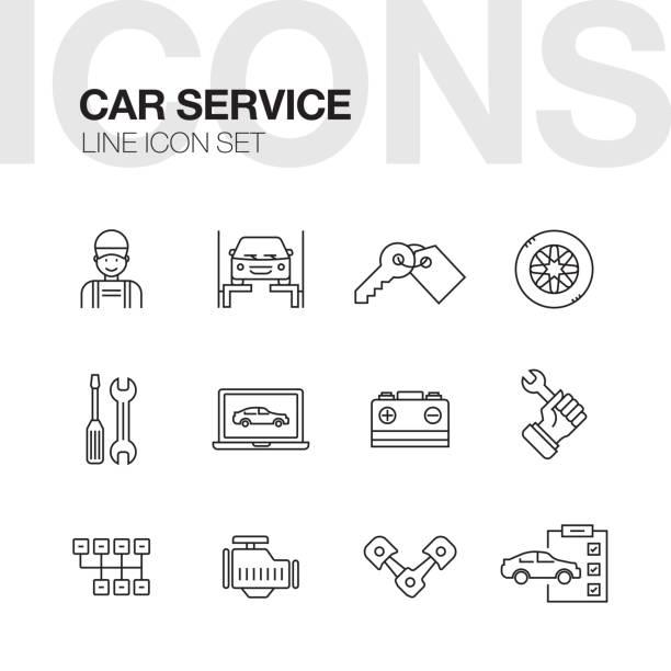 Car Repair Service Line Icons Set Car Repair Service Line Icons Set repairing stock illustrations