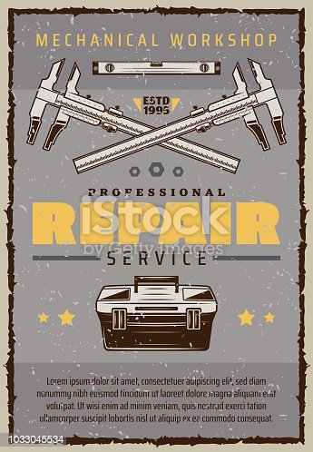 Repair service vintage banner for mechanic workshop or garage. Car mechanic toolbox old grunge poster with caliper, ruler and star for vehicle technician or auto tuning center retro advertising design