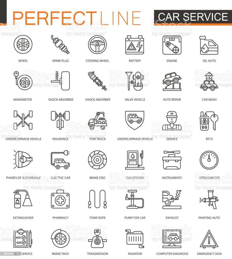 Car repair service thin line web icons set. Outline stroke icons design. vector art illustration