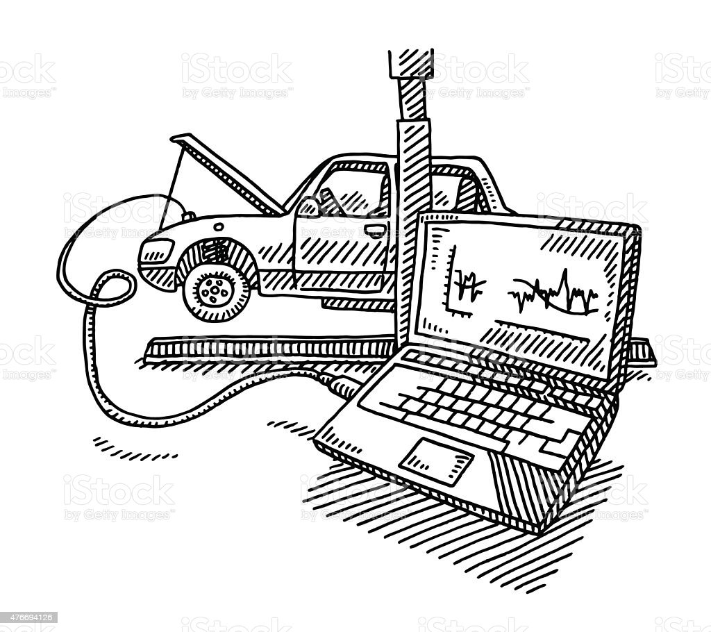 car repair service with connected computer drawing stock