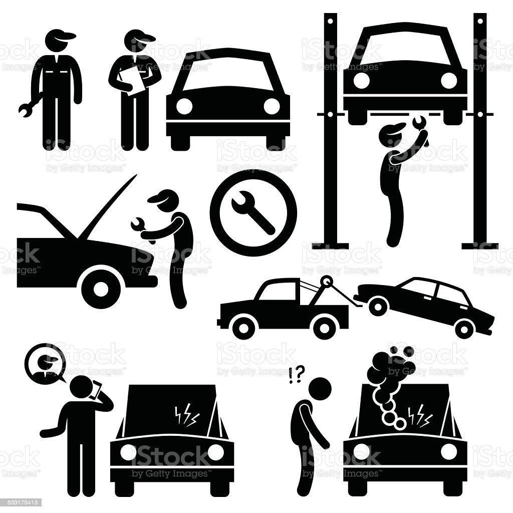 Car Repair Services Workshop Mechanic Stick Figure Pictogram Icons vector art illustration
