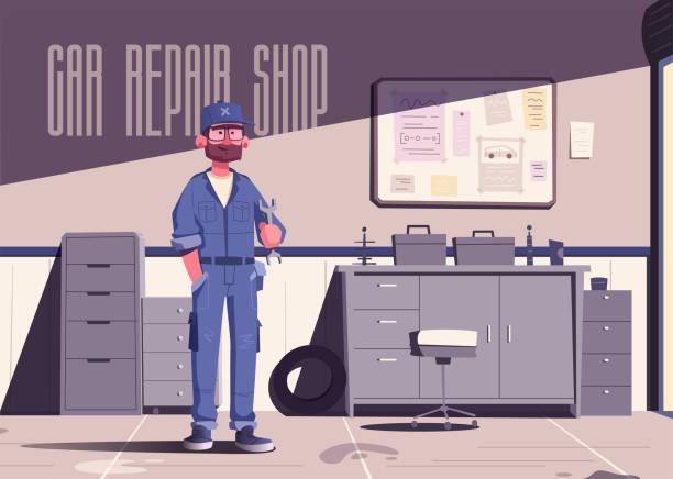 illustrazioni stock, clip art, cartoni animati e icone di tendenza di car repair shop. cartoon vector illustration. garage indoor. mechanic character design - mechanic