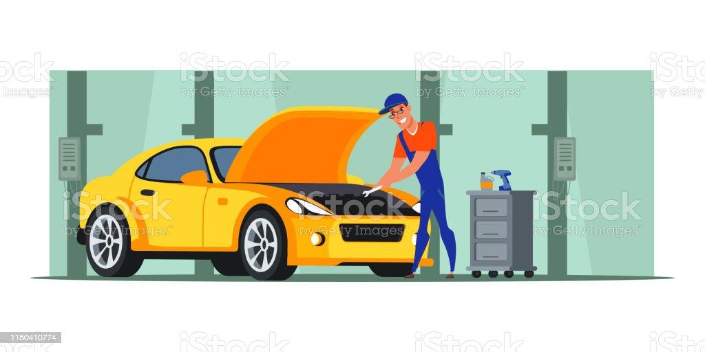 Car repair shop flat illustration. Auto mechanic vector character...