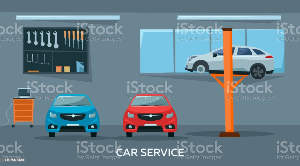 Car Repair Shop Interior With Cars And Tools Professional Service Concept Flat Style Vector Illustration Stock Illustration Download Image Now Istock