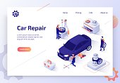 Car Repair Shop, Auto Dealer Diagnostic Service Isometric Vector Web Banner. Team of Mechanics Working in Garage, Repairing, Replacing Car Tires Illustration. Automobile Spare Parts Store Landing Page
