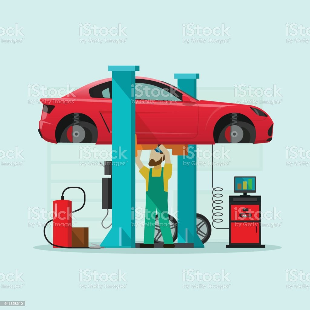 Car repair station vector illustration, mechanic man repairing automobile in workshop garage vector art illustration
