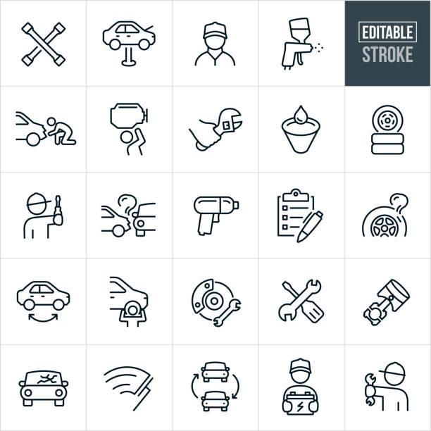 illustrazioni stock, clip art, cartoni animati e icone di tendenza di car repair thin line icons - ediatable stroke - mechanic