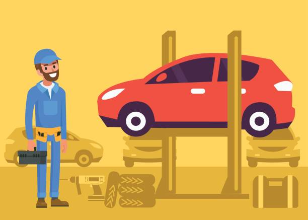 car repair Happy repairman standing in garage.  Car service auto mechanic. Flat style vector illustration. auto repair shop stock illustrations
