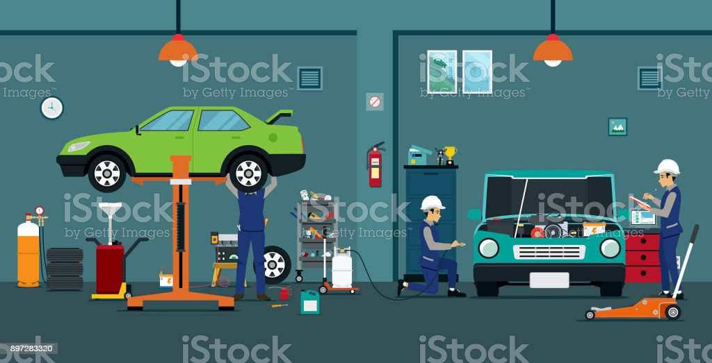 Car repair vector art illustration