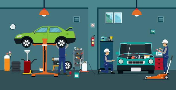 ilustraciones, imágenes clip art, dibujos animados e iconos de stock de reparación de automóviles - mecánico